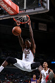 Larry Sanders of the Milwaukee Bucks dunks against the Phoenix Suns on January 29 2014 at the BMO Harris Bradley Center in Milwaukee Wisconsin NOTE...