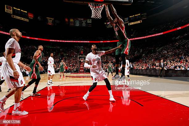 Larry Sanders of the Milwaukee Bucks dunks against the Portland Trail Blazers on December 17 2014 at the Moda Center Arena in Portland Oregon NOTE TO...