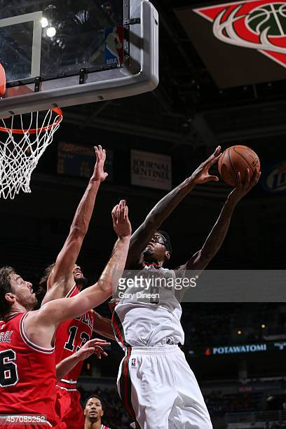 Larry Sanders of the Milwaukee Bucks goes for the layup against the Chicago Bulls during the game on October 11 2014 at BMO Harris Bradley Center...