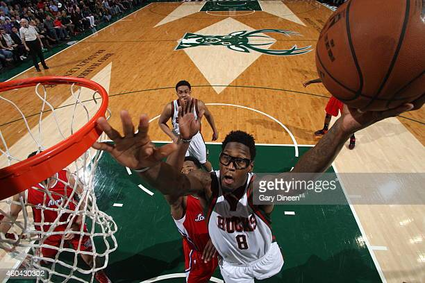 Larry Sanders of the Milwaukee Bucks goes to the basket against the Los Angeles Clippers on December 13 2014 at the BMO Harris Bradley Center in...