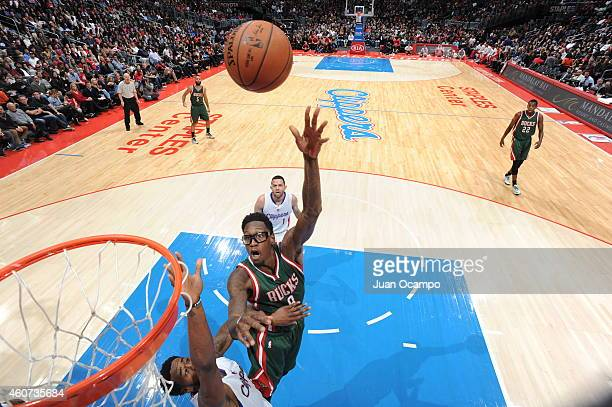 Larry Sanders of the Milwaukee Bucks goes to the basket against the Los Angeles Clippers on December 20 2014 at Staples Center in Los Angeles...