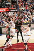 Larry Sanders of the Milwaukee Bucks goes up for a dunk against the Cleveland Cavaliers during the game on December 2 2014 at Quicken Loans Arena in...