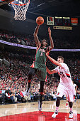 Larry Sanders of the Milwaukee Bucks goes up for a dunk against the Portland Trail Blazers during the game on December 17 2014 at the Moda Center in...