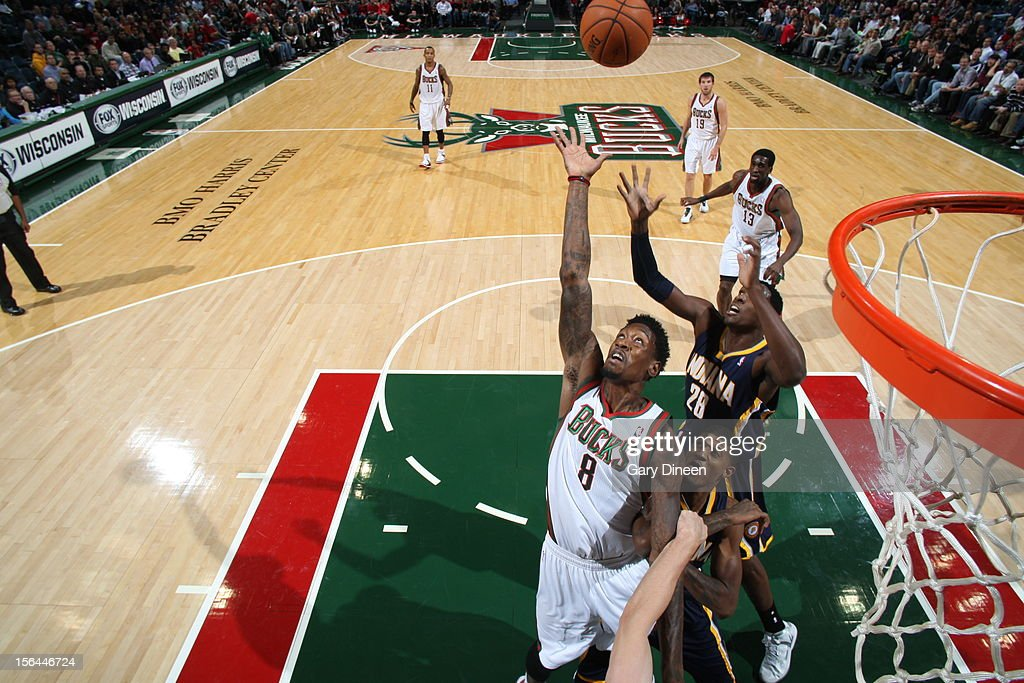 Larry Sanders #8 of the Milwaukee Bucks goes up for a rebound against <a gi-track='captionPersonalityLinkClicked' href=/galleries/search?phrase=Ian+Mahinmi&family=editorial&specificpeople=740196 ng-click='$event.stopPropagation()'>Ian Mahinmi</a> #28 of the Indiana Pacers during the NBA game on November 14, 2012 at the BMO Harris Bradley Center in Milwaukee, Wisconsin.