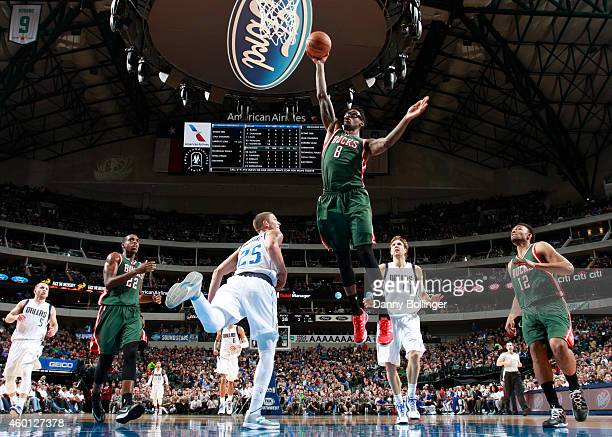 Larry Sanders of the Milwaukee Bucks goes up for a shot against the Dallas Mavericks on December 7 2014 at the American Airlines Center in Dallas...