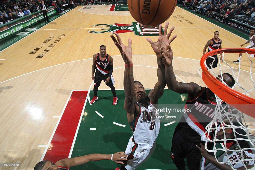 Larry Sanders #8 of the Milwaukee Bucks goes up for the layup against the Portland Trail Blazers on March 19, 2013 at the BMO Harris Bradley Center in Milwaukee, Wisconsin.