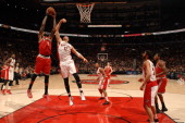 Larry Sanders of the Milwaukee Bucks going up for a dunk during a game against the Toronto Raptors during the game on January 13 2014 at the Air...