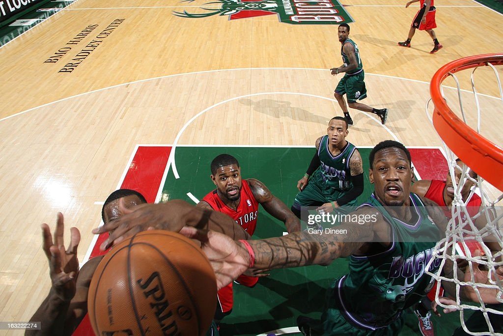 Larry Sanders #8 of the Milwaukee Bucks grabs a rebound against the Toronto Raptors on March 2, 2013 at the BMO Harris Bradley Center in Milwaukee, Wisconsin.