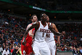 Larry Sanders of the Milwaukee Bucks looks for the rebound against the Chicago Bulls during the game on October 11 2014 at BMO Harris Bradley Center...