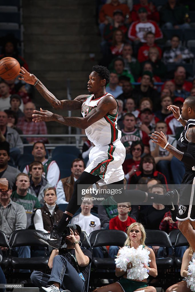 Larry Sanders #8 of the Milwaukee Bucks passes the ball against the Brooklyn Nets on December 26, 2012 at the BMO Harris Bradley Center in Milwaukee, Wisconsin.