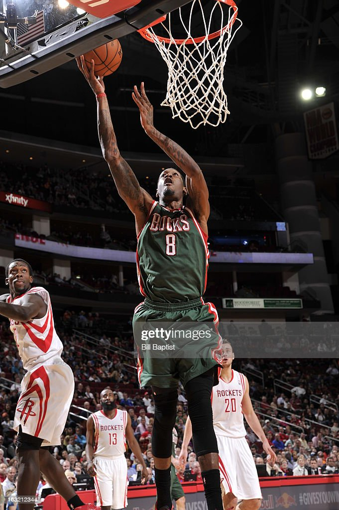 Larry Sanders #8 of the Milwaukee Bucks puts up a shot against the Houston Rockets on February 27, 2013 at the Toyota Center in Houston, Texas.