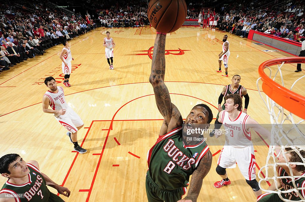 Larry Sanders #8 of the Milwaukee Bucks rebounds against the Houston Rockets on February 27, 2013 at the Toyota Center in Houston, Texas.