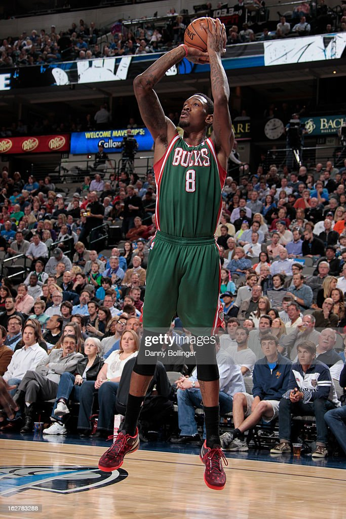 Larry Sanders #8 of the Milwaukee Bucks shoots a jumper against the Dallas Mavericks on February 26, 2013 at the American Airlines Center in Dallas, Texas.