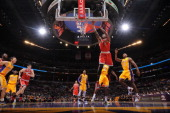 Larry Sanders of the Milwaukee Bucks shoots a layup against the Los Angeles Lakers at Staples Center on January 15 2013 in Los Angeles California...