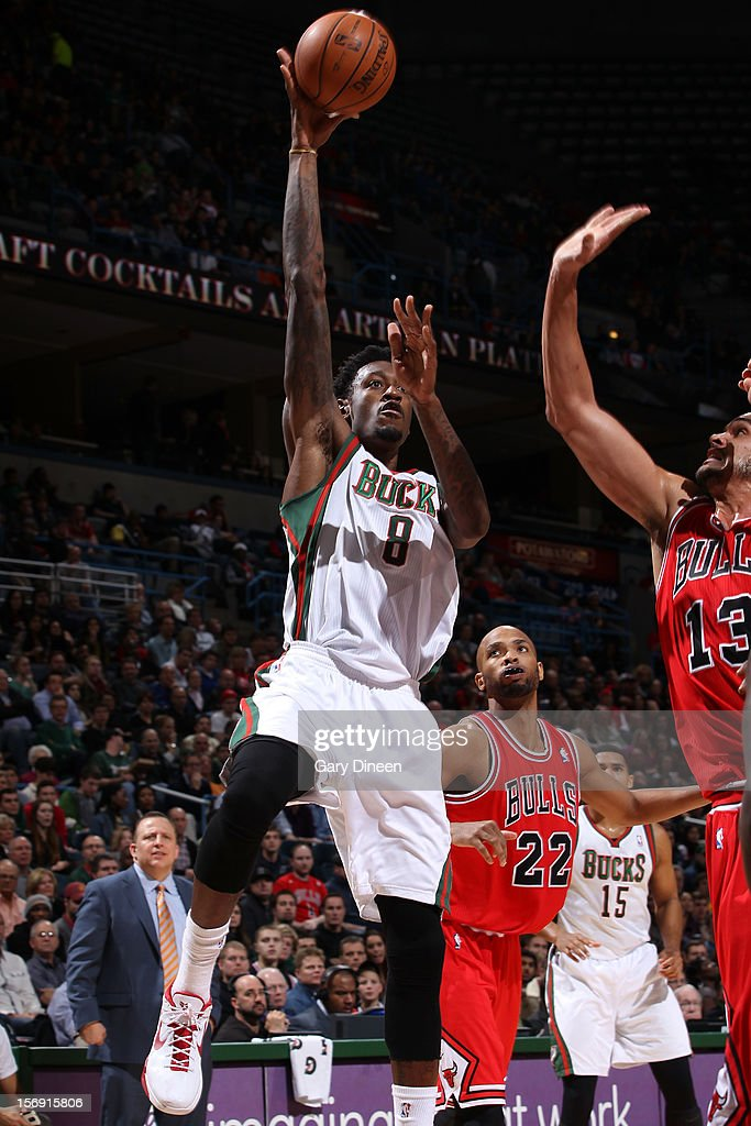 Larry Sanders #8 of the Milwaukee Bucks shoots against <a gi-track='captionPersonalityLinkClicked' href=/galleries/search?phrase=Joakim+Noah&family=editorial&specificpeople=699038 ng-click='$event.stopPropagation()'>Joakim Noah</a> #13 of the Chicago Bulls during the NBA game on November 24, 2012 at the BMO Harris Bradley Center in Milwaukee, Wisconsin.
