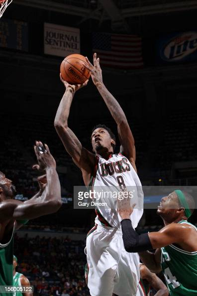 Larry Sanders of the Milwaukee Bucks shoots against Kevin Garnett and Paul Pierce of the Boston Celtics during the NBA game on November 10 2012 at...