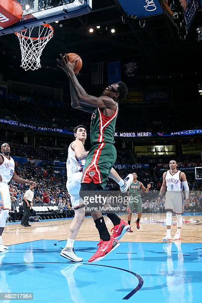 Larry Sanders of the Milwaukee Bucks shoots against the Oklahoma City Thunder on December 9 2014 at Chesapeake Energy Arena in Oklahoma City OK NOTE...