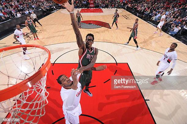 Larry Sanders of the Milwaukee Bucks shoots the ball against the Portland Trail Blazers during the game on December 17 2014 at the Moda Center in...