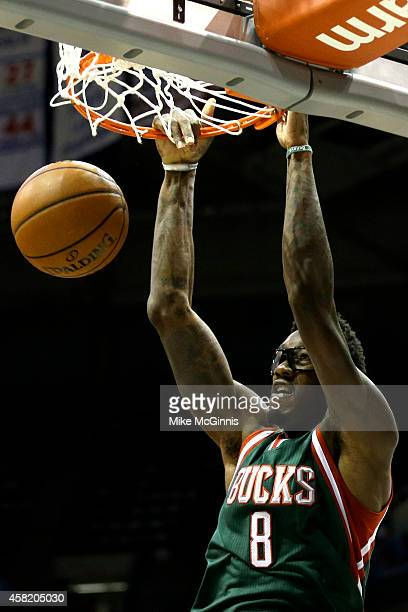Larry Sanders of the Milwaukee Bucks throws down a two handed slam dunk during the second half against the Philadelphia 76ers at BMO Harris Bradley...
