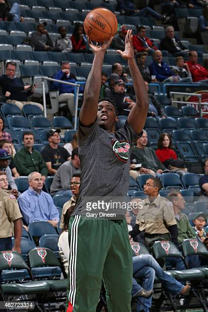 Larry Sanders of the Milwaukee Bucks warms up before a game against the Toronto Raptors on January 19 2015 at the BMO Harris Bradley Center in...