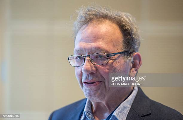 Larry Sanders the older brother of US candidate for the Democratic Party presidential nomination Bernie Sanders speaks to reporters during the...