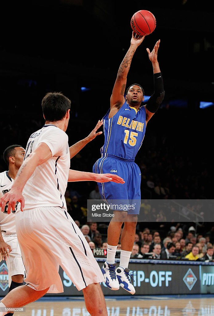 Larry Savage #15 of the Delaware Fightin' Blue Hens hits a basket during the game against the Pittsburgh Panthers at Madison Square Garden on November 23, 2012 in New York City. Pittsburgh Panthers defeated the Delaware Fightin' Blue Hens 85-59.