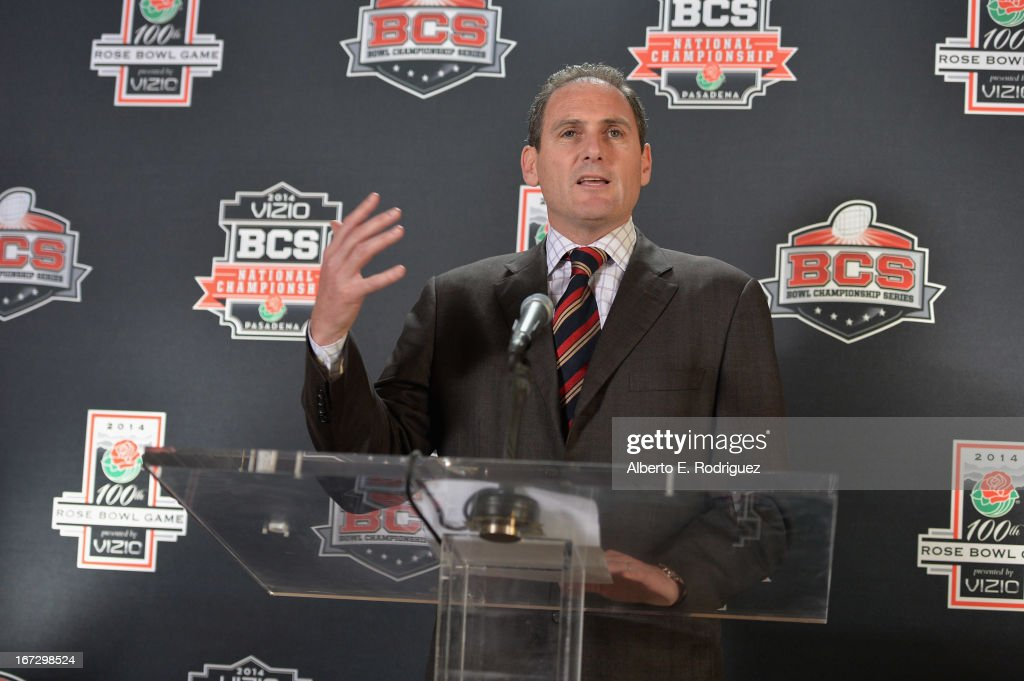 Larry Scott, Commissioner, Pac-12 Conference attends the 100th Rose Bowl Game press conference at Rose Bowl on April 23, 2013 in Pasadena, California.