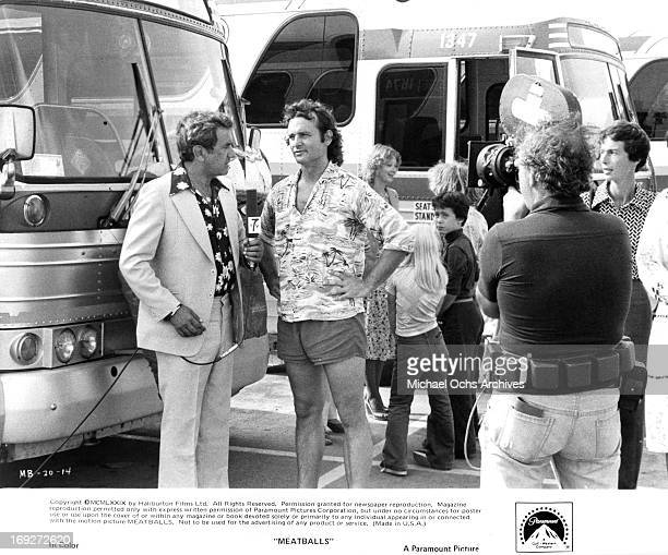 Larry Solway intrerviews Bill Murray in a scene from the film 'Meatballs' 1979