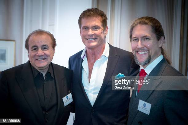 Larry Thompson Actor David Hasselhoff and Robert Endara attend The Hollywood Radio And Television Society Presents The Newsmaker Luncheon Series A...