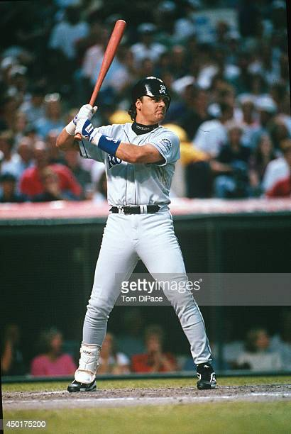 Larry Walker of the Colorado Rockies bats against Randy Johnson of the Seattle Mariners in the top of the second inning during the 68th Major League...