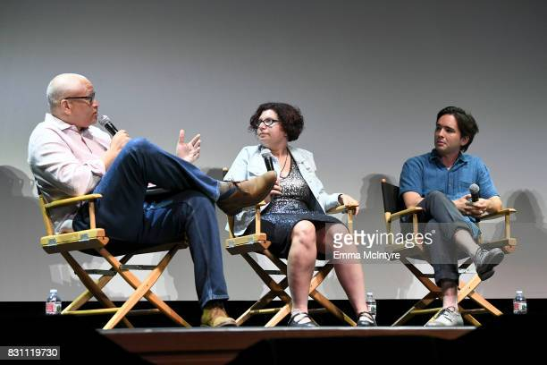 Larry Wilmore Dina Buno and filmmaker Dan Sickles speak onstage at 2017 Sundance NEXT FEST at The Theater at The Ace Hotel on August 13 2017 in Los...