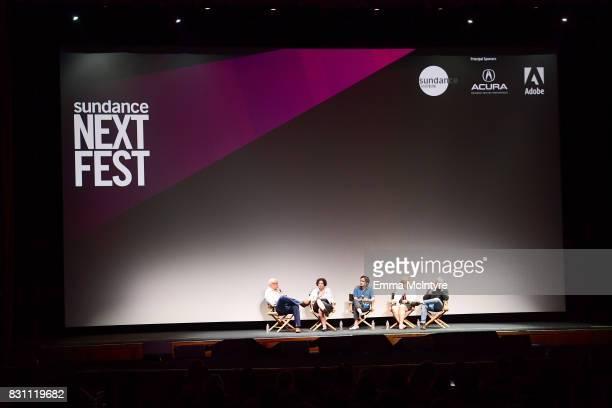 Larry Wilmore Dina Buno filmmaker Dan Sickles Darlene Anderson and filmmaker Antonio Santini speak onstage at 2017 Sundance NEXT FEST at The Theater...