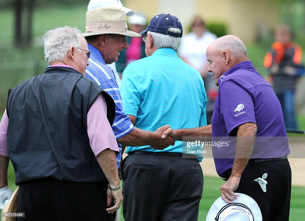 Larry Ziegler and Jim Colbert shake hands after their one-hole playoff during the final round of the Demaret Division at the Liberty Mutual Insurance Legends of Golf at The Westin Savannah Harbor Golf Resort & Spa on April 23, 2013 in Savannah, Georgia.
