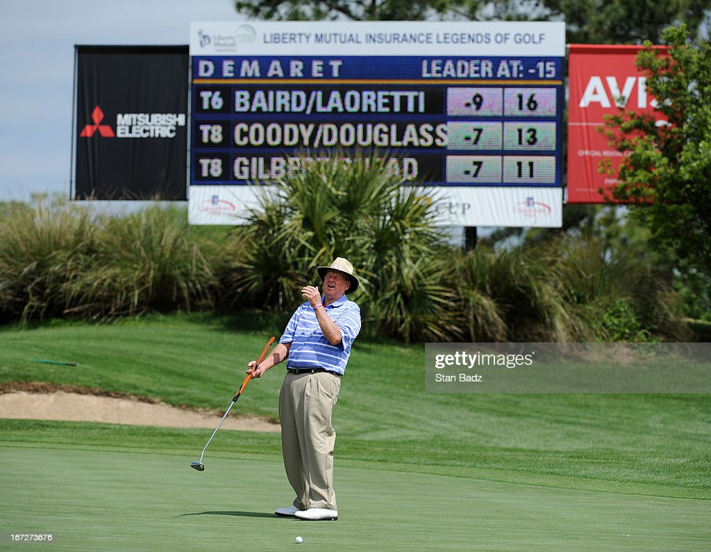 Larry Ziegler reacts to his birdie attempt on the 17th hole during the final round of the Demaret Division at the Liberty Mutual Insurance Legends of Golf at The Westin Savannah Harbor Golf Resort & Spa on April 23, 2013 in Savannah, Georgia.