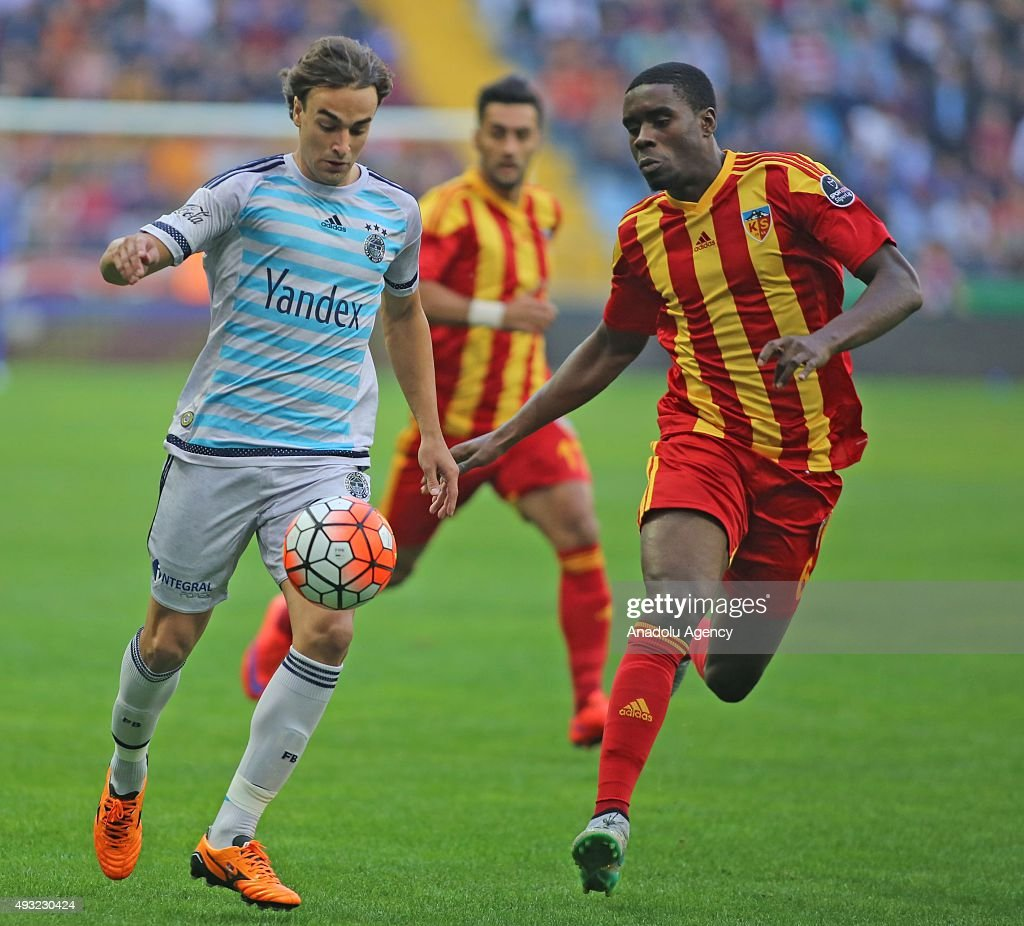 Larrys Mabiala of Kayserispor in action against Lazar Markovic of Fenerbahce during the Turkish Spor Toto Super League football match between...