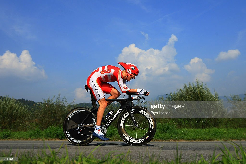 Lars Bak of Denmark in action during the Elite Men's Time Trial at the 2009 UCI Road World Championships on September 24, 2009 in Mendrisio, Switzerland.