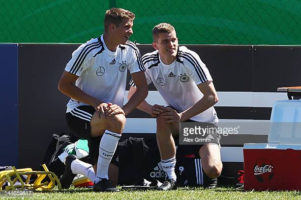Lars Bender and Sven Bender prepares for a Germany training session at Campo Sportivo Comunale Andrea Corda on May 17 2012 in Abbiadori Italy