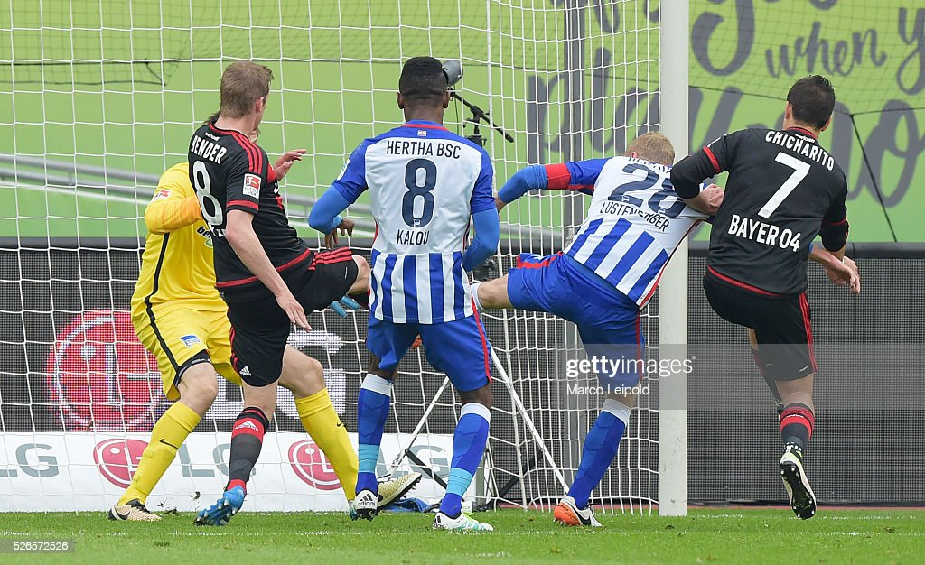 Lars Bender of Bayer 04 Leverkusen scores the 2:0 during the game between Bayer 04 Leverkusen and Hertha BSC on april 30, 2016 in Leverkusen, Germany.