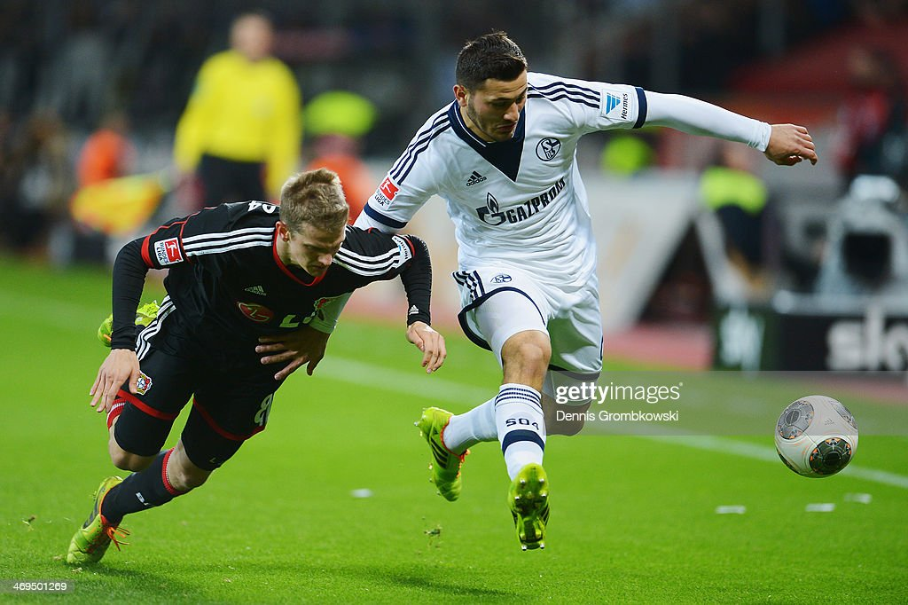 <a gi-track='captionPersonalityLinkClicked' href=/galleries/search?phrase=Lars+Bender&family=editorial&specificpeople=644948 ng-click='$event.stopPropagation()'>Lars Bender</a> of Bayer Leverkusen and Sead Kolasinac of FC Schalke 04 battle for the ball during the Bundesliga match between Bayer Leverkusen and FC Schalke 04 at BayArena on February 15, 2014 in Leverkusen, Germany.