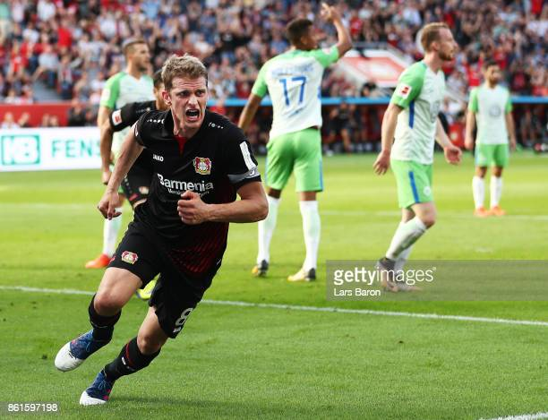 Lars Bender of Bayer Leverkusen celebrates after scoring a goal during the Bundesliga match between Bayer 04 Leverkusen and VfL Wolfsburg at BayArena...
