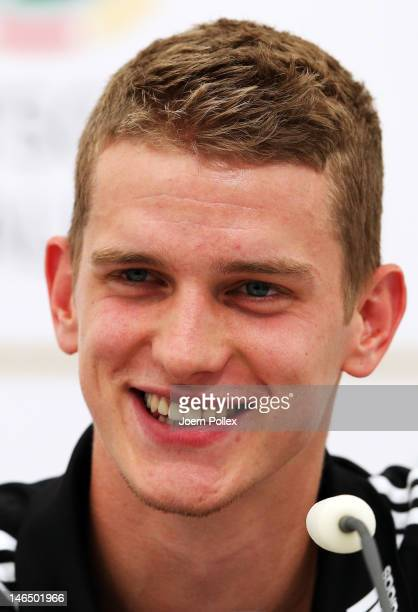 Lars Bender of Germany attends a press conference ahead of their UEFA EURO 2012 Quarterfinal match against Greece at the Germany press centre on June...