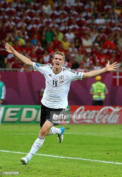 L'VIV UKRAINE JUNE 17 Lars Bender of Germany celebrates scoring their second goal during the UEFA EURO 2012 group B match between Denmark and Germany...