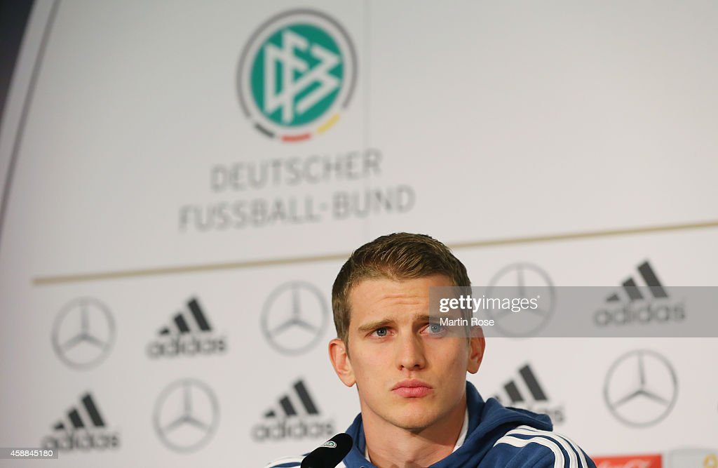 <a gi-track='captionPersonalityLinkClicked' href=/galleries/search?phrase=Lars+Bender&family=editorial&specificpeople=644948 ng-click='$event.stopPropagation()'>Lars Bender</a> of Germany reacts during a press conference ahead of the EURO 2016 Group D qualifying match against Gibraltar at on November 12, 2014 in Berlin, Germany.