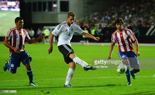 Lars Bender of Germany scores his teams third goal during the international friendly match between Germany and Paraguay at FritzWalterStadium on...