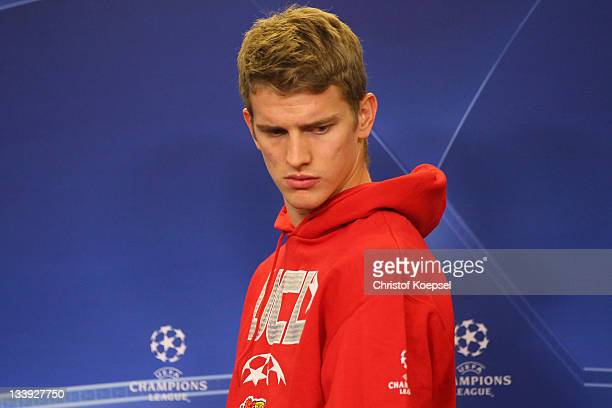 Lars Bender of Leverkusen attends the Bayer Leverkusen press conference at BayArena on November 22 2011 in Leverkusen Germany