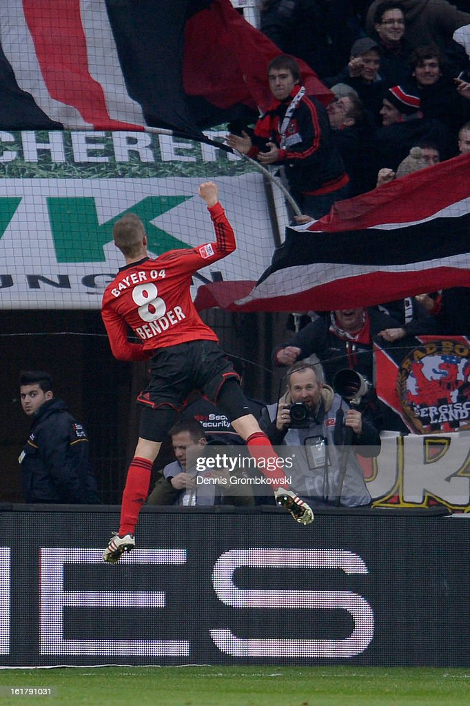<a gi-track='captionPersonalityLinkClicked' href=/galleries/search?phrase=Lars+Bender&family=editorial&specificpeople=644948 ng-click='$event.stopPropagation()'>Lars Bender</a> of Leverkusen celebrates after scoring his team's second goal during the Bundesliga match between Bayer 04 Leverkusen and FC Augsburg at BayArena on February 16, 2013 in Leverkusen, Germany.