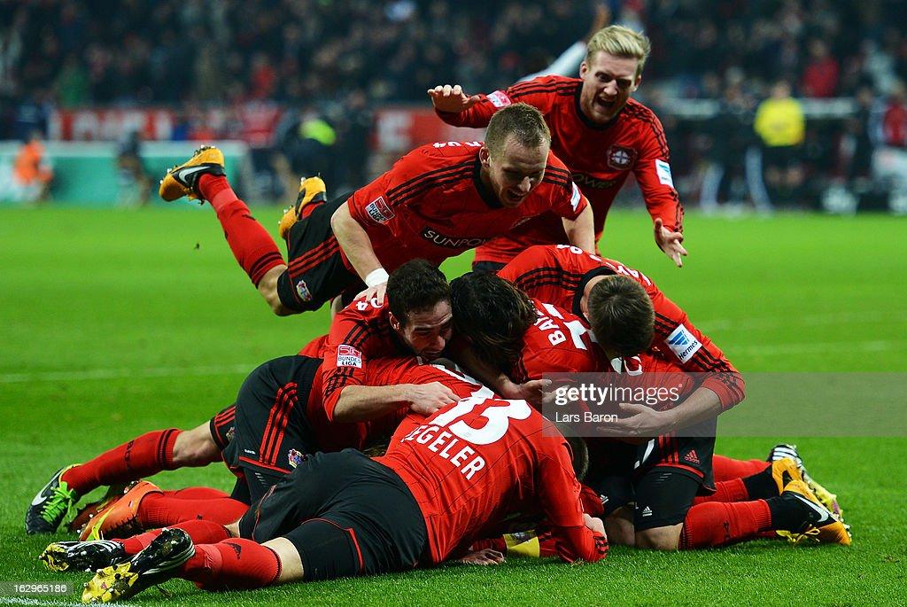 Lars Bender of LEverkusen celebrates after scoring his teams winning goal during the Bundesliga match between Bayer 04 Leverkusen and VfB Stuttgart at BayArena on March 2, 2013 in Leverkusen, Germany.