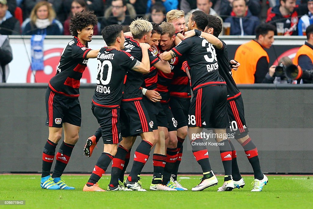 Lars Bender of Leverkusen (C) celebrates the second goal with his team mates during the Bundesliga match between Bayer Leverkusen and Hertha BSC Berlin at BayArena on April 30, 2016 in Leverkusen, Germany.
