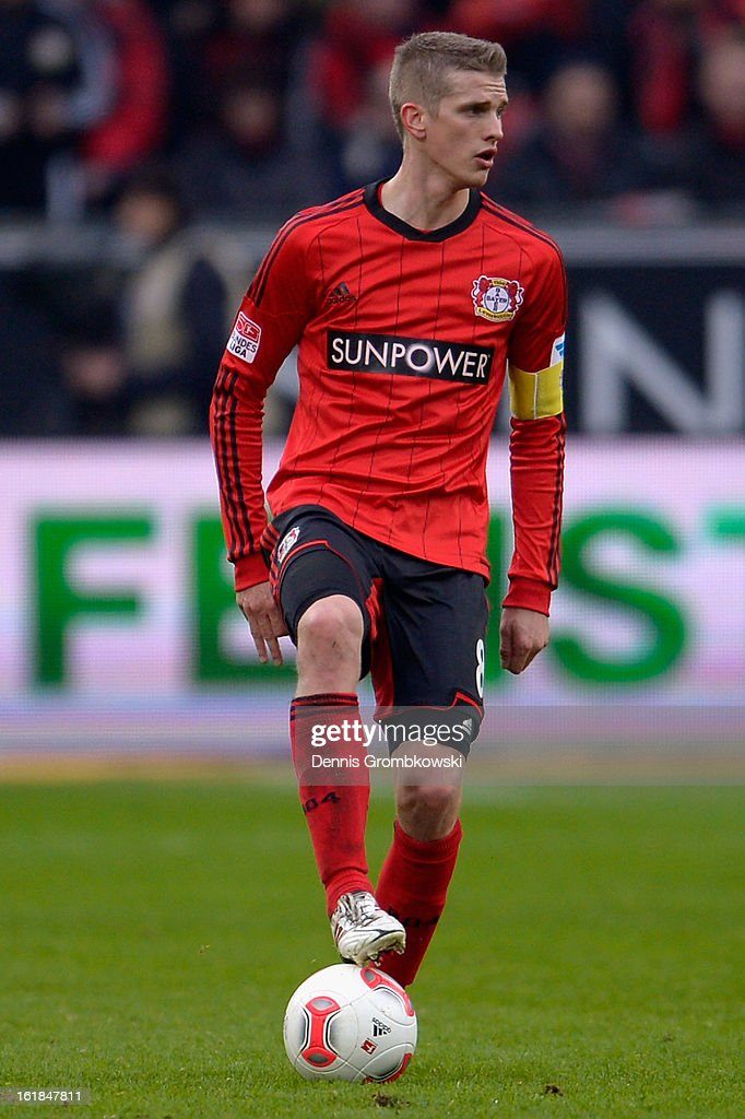 Lars Bender of Leverkusen controls the ball during the Bundesliga match between Bayer 04 Leverkusen and FC Augsburg at BayArena on February 16, 2013 in Leverkusen, Germany.