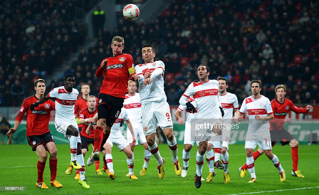Lars Bender of Leverkusen goes up for a header with Vedad Ibisevic of Stuttgart during the Bundesliga match between Bayer 04 Leverkusen and VfB Stuttgart at BayArena on March 2, 2013 in Leverkusen, Germany.